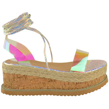 ESME SILVER RAINBOW SNAKE LACE UP FLATFORMS