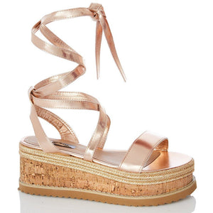 Envy Shoes Esme Rose Gold Flatforms