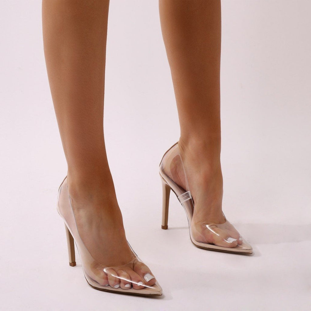 99be9c6a5ce KYLIE PERSPEX NUDE COURT HEELS – Envy Shoes UK