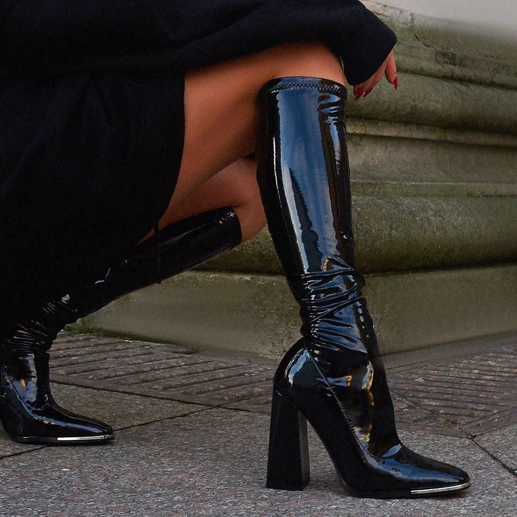 ELEANOR BLACK PATENT TOE CAP KNEE HIGH BOOTS