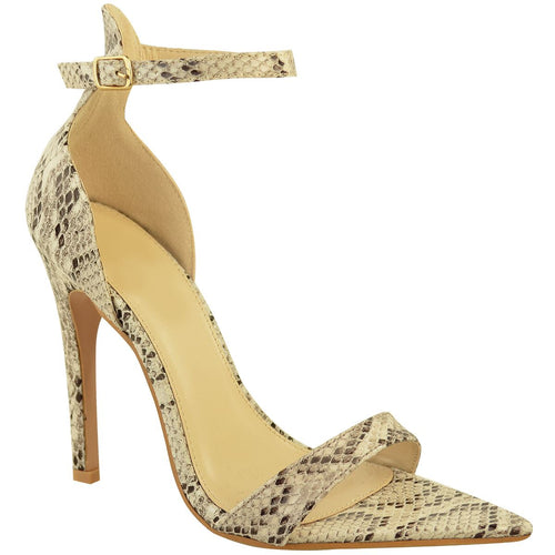 LALA SNAKE PRINT POINTED HEELS
