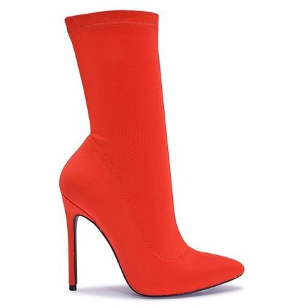 Envy Shoes Hattie Red Lycra Sock Boots