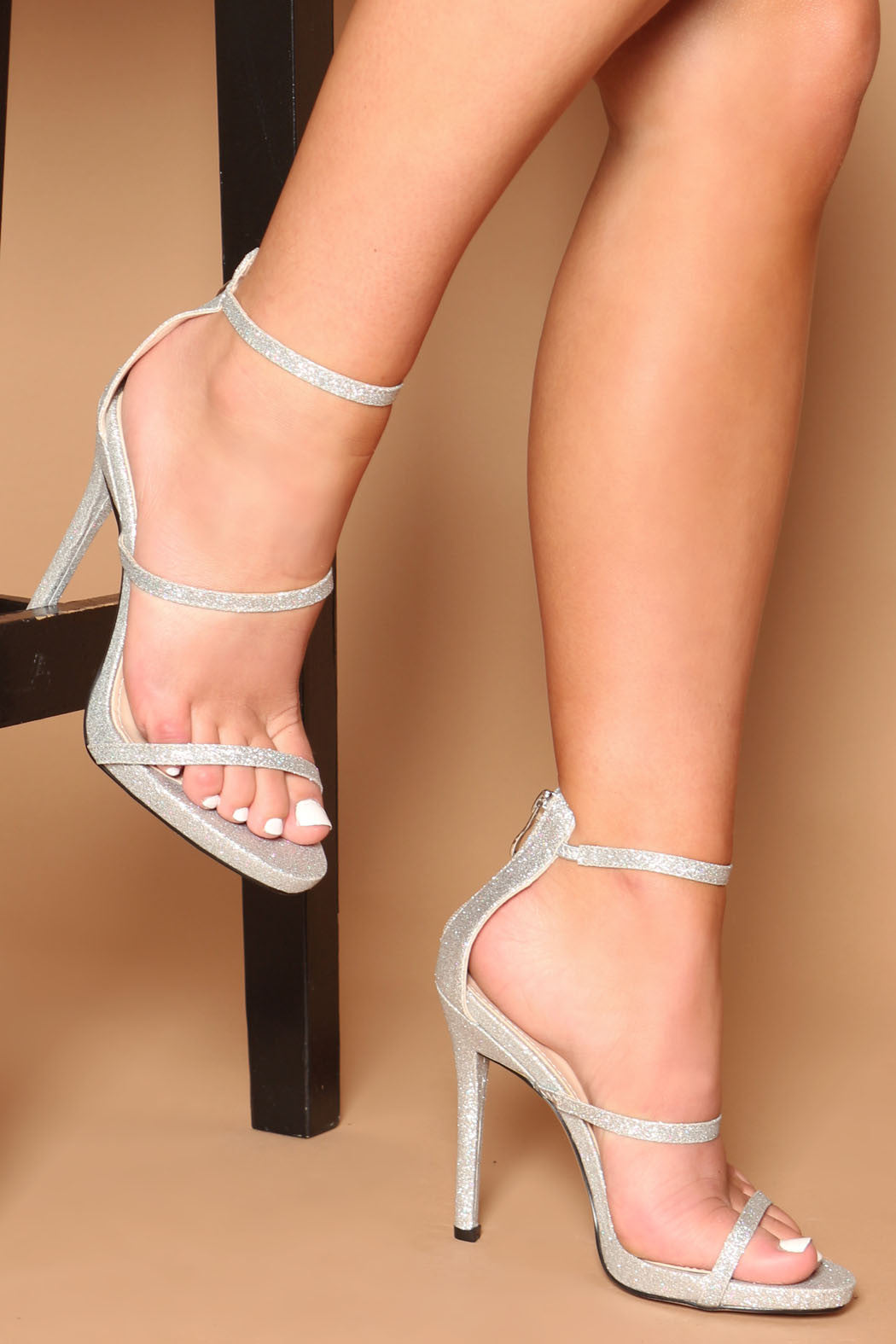HOLLY SILVER GLITTER STRAPPY HEELS