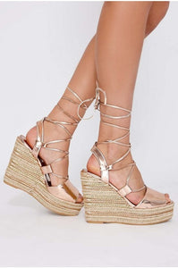 FLEUR ROSE GOLD LACE UP WEDGES