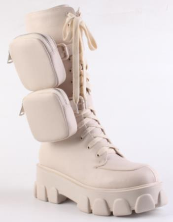 'ZIP TEASE' NUDE CHUNKY POCKET BOOTS - PRE ORDER EXPECTED DISPATCH FEBRUARY