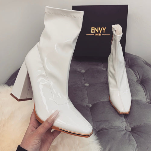 ELODIE WHITE PATENT TOE CAP ANKLE BOOTS