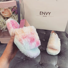 SNUGGLE RAINBOW FAUX FUR SLIPPERS