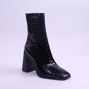 AMBER TURNER 'CROC MY WORLD' BLACK ANKLE BOOTS
