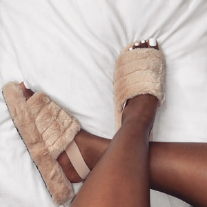 SNUGGLE MOCHA FAUX FUR SLIPPERS