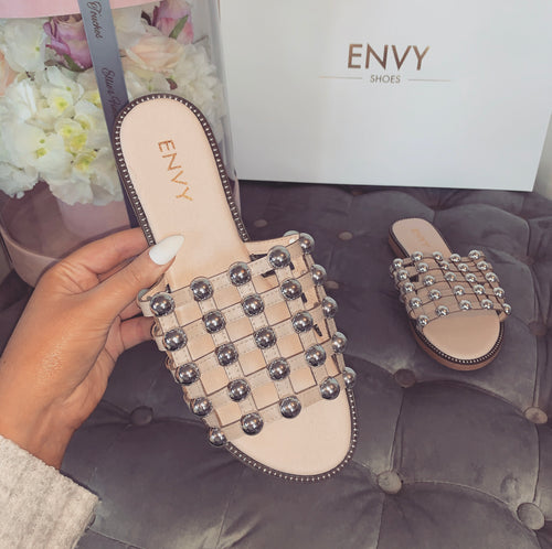 MADISON STUDDED CAGED NUDE SLIDERS
