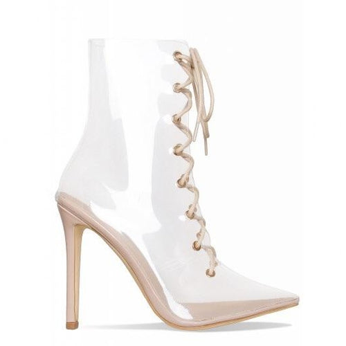NYLA PERSPEX LACE UP NUDE BOOTS