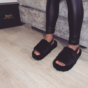 MINI SNUGGLE BLACK FAUX FUR SLIPPERS