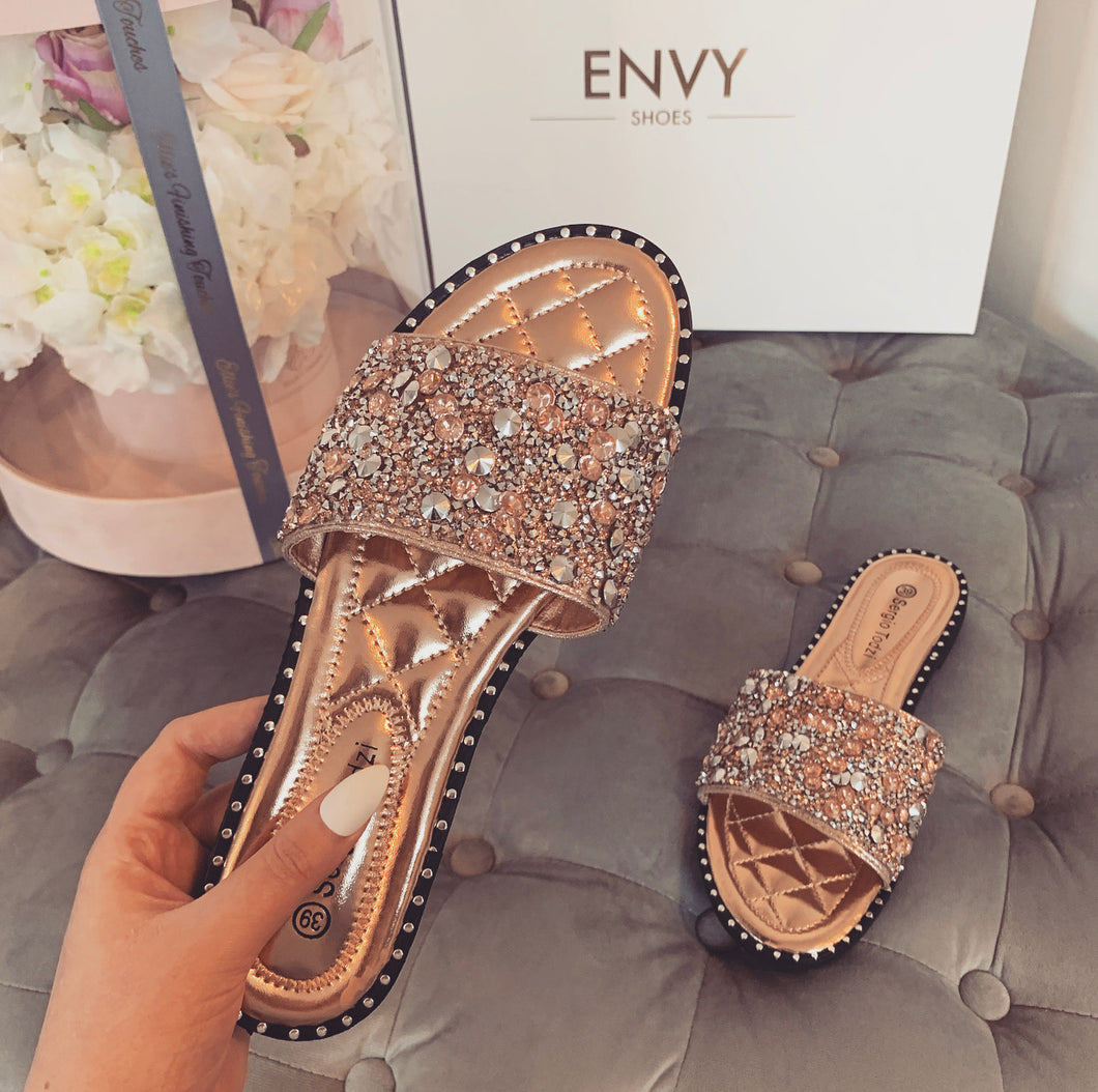 LOLA JEWEL ROSE GOLD SLIDERS