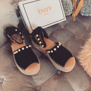LUCIA BLACK PEARL ESPADRILLE FLATFORMS