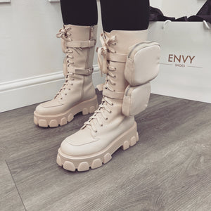 'ZIP TEASE' NUDE CHUNKY POCKET BOOTS