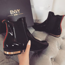 EVA BLACK PATENT CHELSEA BOOTS WITH RED STRIPE