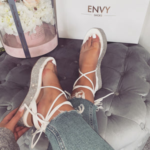 PIPPA WHITE LACE UP ESPADRILLE FLATFORMS