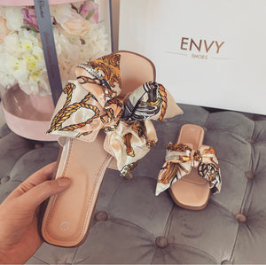 DOLCE NUDE SCARF SLIDERS