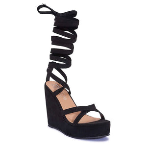 ARI BLACK SUEDE LACE UP WEDGES