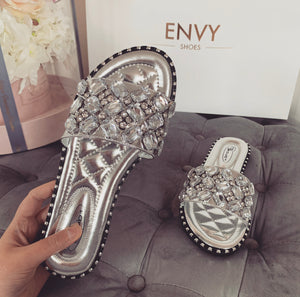 SOFIA JEWEL SILVER SLIDERS