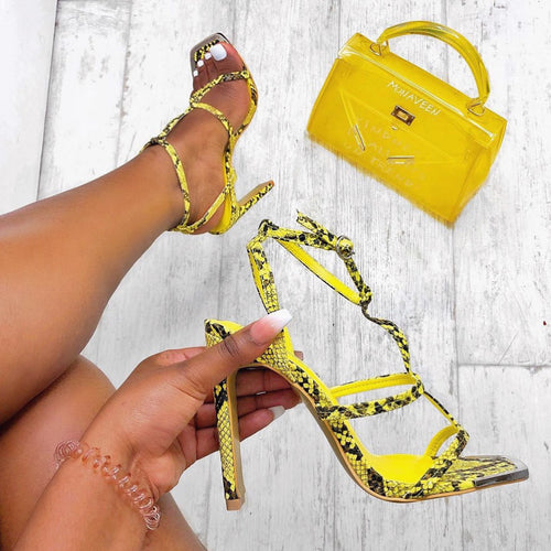AMBER TURNER 'IT'S ALL IN THE DETAIL' LIME SNAKE HEELS
