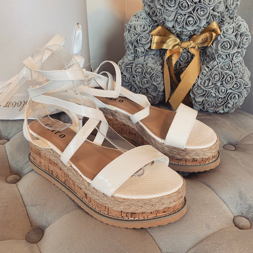 ESME WHITE CROC LACE UP FLATFORMS