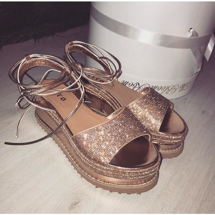 ZOE ROSE GOLD LACE UP ESPADRILLE