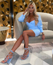 AMBER TURNER 'KNOT MY PROBLEM' CANDY BLUE KNOTTED SANDAL BLOCK HEELS