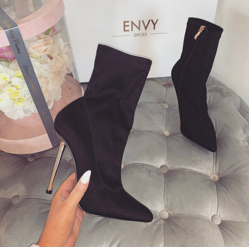 RAYNA BLACK ANKLE SOCK BOOTS