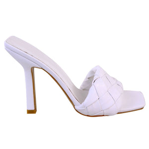 BRIDGET WHITE QUILTED HEELED MULES