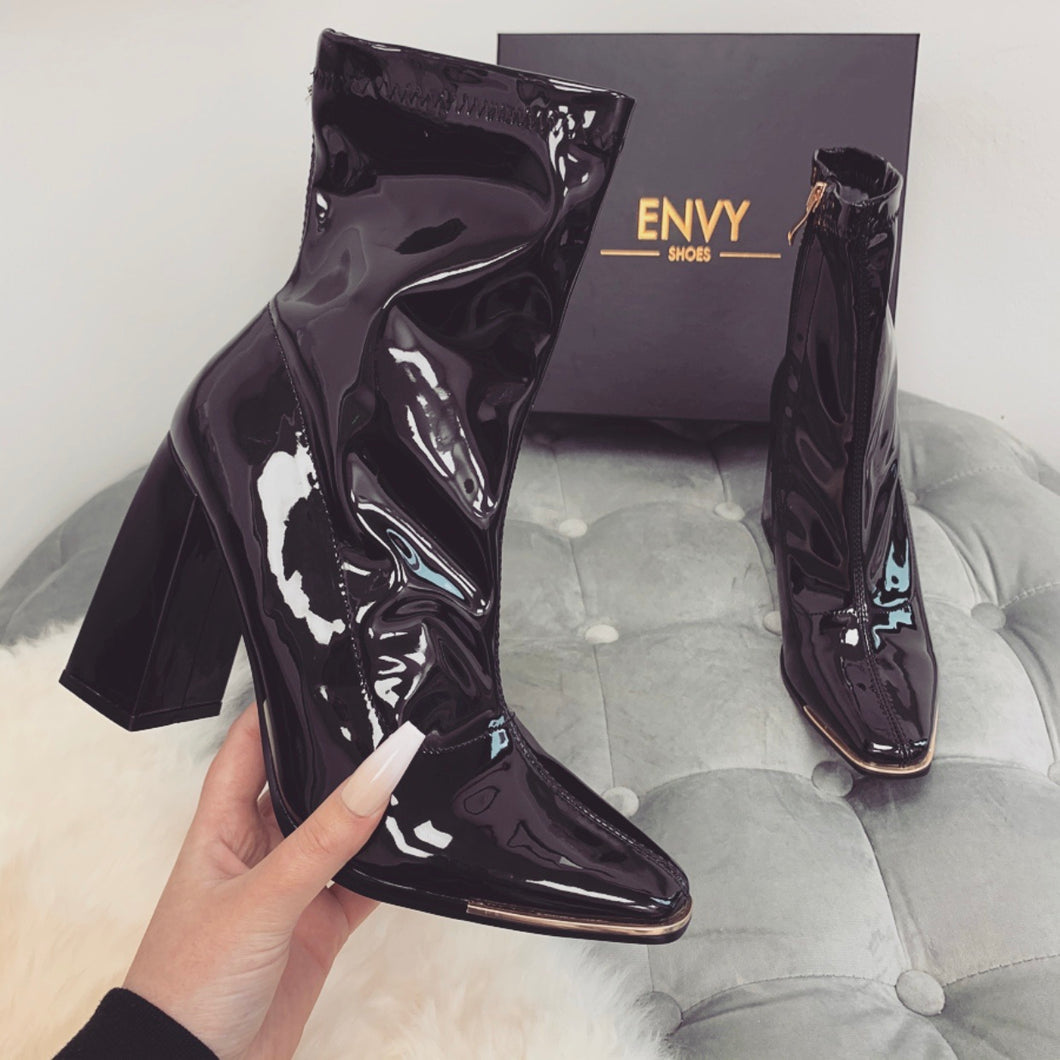 ELODIE BLACK PATENT TOE CAP ANKLE BOOTS