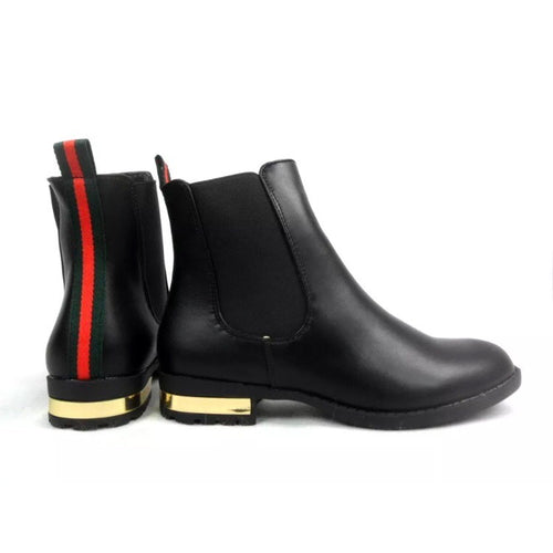 EVA BLACK MATTE CHELSEA BOOTS WITH RED STRIPE