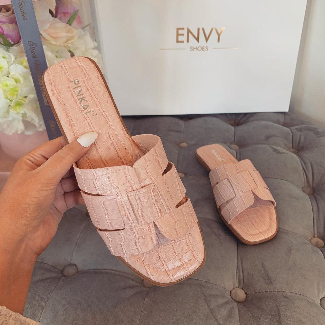 LYDIA BLUSH PINK CROC SLIDERS