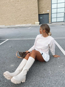 ZARA NUDE KNEE HIGH FLAT BOOTS