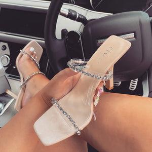 YONCE DIAMANTE NUDE HEELED MULES
