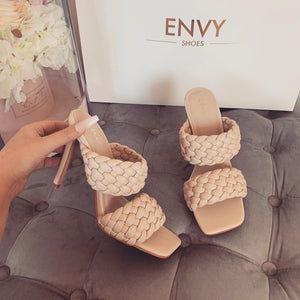 CHRISSIE NUDE WOVEN HEELED MULES