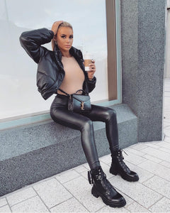 AMBER TURNER 'ZIP IT' BLACK CHUNKY POCKET BOOTS