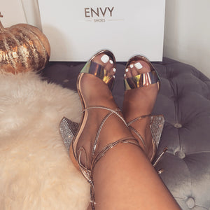ELSA GOLD DIAMANTE BLOCK HEELS