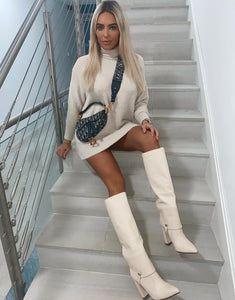 GRACIE NUDE KNEE HIGH PULL ON BOOTS