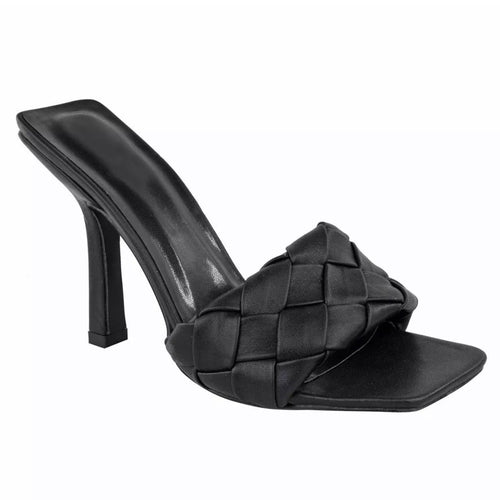BRIDGET BLACK QUILTED HEELED MULES