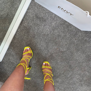 COURTNEY NEON YELLOW STRAPPY SANDAL HEELS