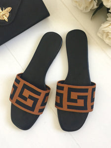 JESSIE BLACK MONOGRAM SLIDERS