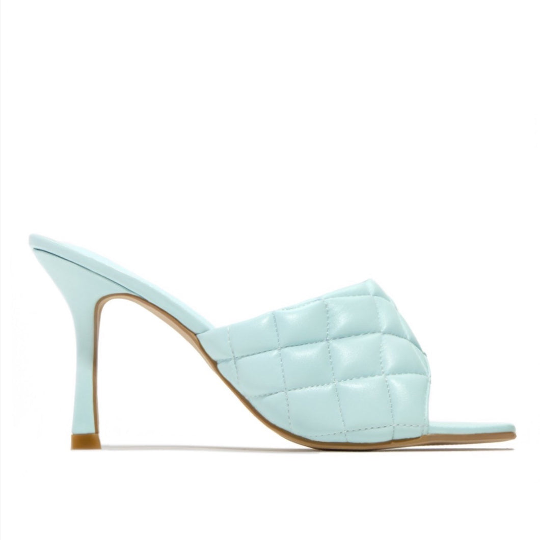 KELSEY BABY BLUE QUILTED HEELED MULES