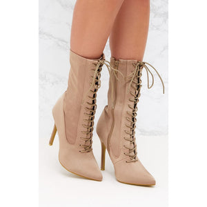 Envy Shoes Kim Kardashian Kimmy Nude Lycra Sock Boots