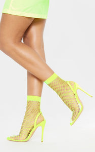 AMBER TURNER 'HOT MESH' NEON LIME FISHNET PERSPEX HEELS