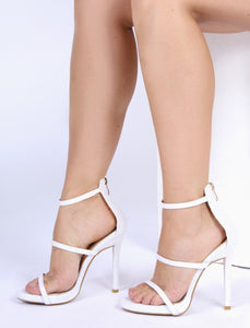 HOLLY WHITE GLITTER STRAPPY HEELS