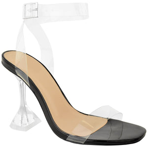 AMBER TURNER 'LET'S BE CLEAR' BLACK PERSPEX HEELS