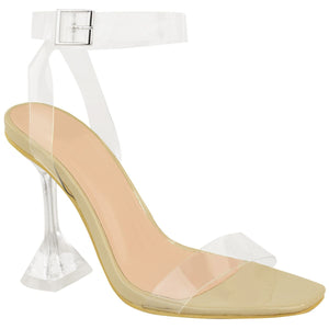 AMBER TURNER 'LET'S BE CLEAR' NUDE PERSPEX HEELS