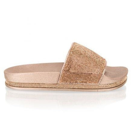 LIANA ROSE GOLD DIAMANTE SLIDES