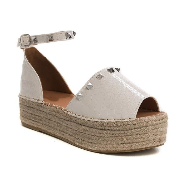 LUCIA WHITE CROC STUDDED ESPADRILLE FLATFORMS